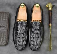 Mens genuine Leather Alligator Loafer Moccasin Gommino Driving Shoes Slip On New