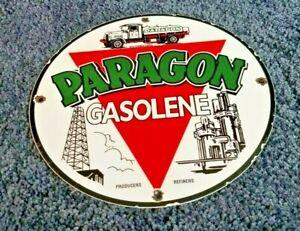 VINTAGE PARAGON GASOLINE PORCELAIN GAS REFINERY GAS SERVICE HAND PUMP SIGN
