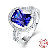 4.85CT Emerald Cut AAA Tanzanite 100% 925 Sterling Silver Ring Size L½ N½ P½ R½