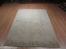 6x8 Fine Tibetan Carved All-Over-Pattern Hand-made-knotted Wool/SILK Rug 582364