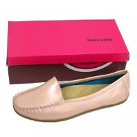 Ladies Womens Pink Pearlescent Slip On Loafers Moccasins Comfortable Shoes
