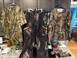 4 Item Lot Mens Mossy Oak Camo Pants 2XL-Mossy Oak Gloves-Woolrich Camo Shirt