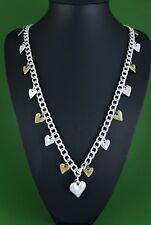 """Matt Silver Antique Brass Heart Charms Curb Link Long Lagenlook Necklace 39.5"""""""