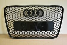RSQ7 STYLE FRONT GRILL FOR AUDI Q7 4L 2006-2014 HONEYCOMB BLACK GLOSS RINGS