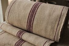 Vintage linen STAIR RUNNER HEMP fabric per 1 YARD length maroon organic natural