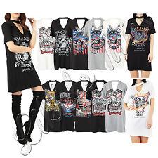 New Women Choker V Neck Ladies Graphic Slogan Printed Longline T Shirt Dress Top