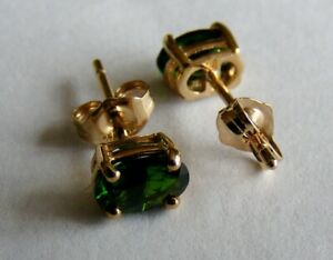 Nice Pair of 9ct Gold Stud Earrings with Oval Cut Green Russian Diopside Stones.