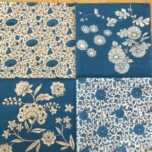PAPER NAPKINS / SERVIETTES PACK OF 20 BLUE AND WHITE 4 IN ONE SHEET DESIGN 3PLY