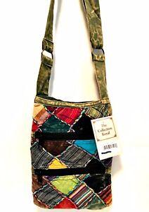 Small Bohemian Handbag Crossbody Zipper Karma Circle USA Cotton Colors Vary