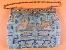 Antiguo Chino Bordado De Seda/Cartera Bolso, metal dorado y cierre de grano de coral