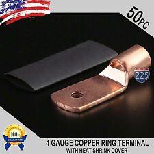 50 PCS 4 AWG 4 GA. Copper Ring Terminal Heat Shrink # 10 Hole Lug Connector US