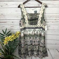 NWT Rabbit Rabbit Rabbit Crochet Floral Sleeveless Dress Women's Petite 14