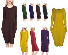 New Womens Long Sleeve Legenlook Oversized Ladies Pocket Baggy Midi Dress Plus
