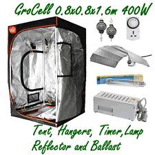 GROCELL 0.8x0.8x1.6m GROW TENT + 400W HPS LAMP BALLAST REFLECTOR + HANGERS TIMER