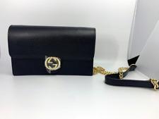 Gucci 510314 Black Leather Interlocking GG Crossbody Wallet Bag Purse Clutch