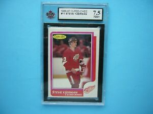 1986/87 O-PEE-CHEE NHL HOCKEY CARD #11 STEVE YZERMAN KSA 7.5 NM+ SHARP+ OPC