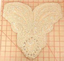 "Vintage bodice applique off white plastic pearls AB sequins & montees 11.5"""