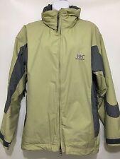 Helly Hansen Womens L Lt Green Gray Hooded Winter Jacket Fleece Lined 2-Way Zip