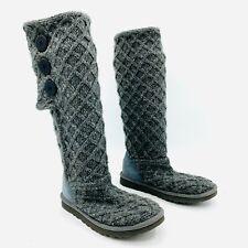 Ugg Australia Cardy Lattice Gray Knit Sweater Boot Womens Size 7
