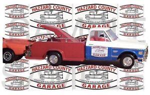 Hazard County Garage 1:64 Cooter's tow truck General Lee WATER SLIDE DECALS