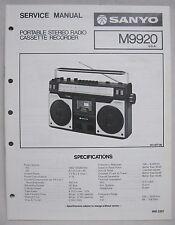 SANYO M9920 Cassette Boombox Original SERVICE MANUAL Ghetto Blaster M-9920
