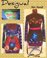 DESIGUAL Sz Small Tie-Back Tunic w/Bottom Band, Long Slv ~ Abstract Art-to-Wear!