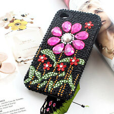 Hot Pink Bling 3D Sun Flower Diamond Hard Case For Apple iPhone 5S 5 w/Screen