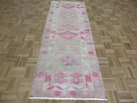 2'8 x 7'3 Runner Hand Knotted Pink Vintage Turkish Oushak Oriental Rug G7456