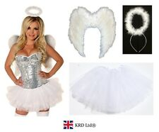 Angel Fairy Feather Wings Halo Adult Fancy Dress Costume Outfit Hen Party WHITE