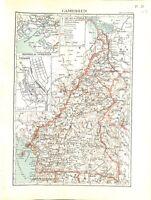 Empire Colonial Français Cameroun Yaoundé Afrique MAP CARTE ATLAS 1937