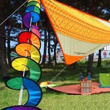 Faltbare Windmühle Bunte PVC Regenbogen -Spirale Wind Camping Spinner Zelt NEU