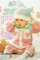(246) Baby Cardigan Copy Knitting Pattern and Hat in DK yarn