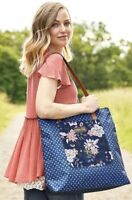 Matilda Jane EXTRA CREDIT Tote Bag Blue Floral Leather Straps Purse NWT