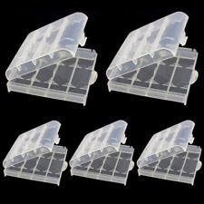 5 Pcs Etui Batterie Case Boîte Rangement Transparent Pour Piles AA AAA Plastique