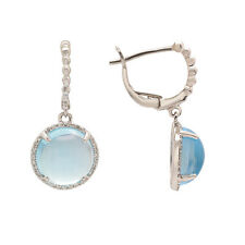 14K WHITE GOLD PAVE DIAMOND BLUE TOPAZ HALO DANGLE DANGLING EARRINGS