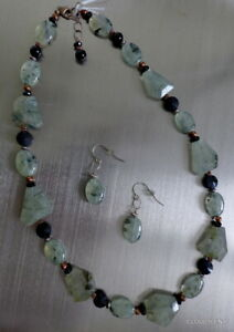"Estate Artisan Prasiolite, Onyx, Copper, Sterling Estate 24"" Necklace & Earrings"