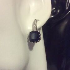 fh Plum UK Blue sapphire cushion sim diamond French hoop WHITE GOLD gf BOXED