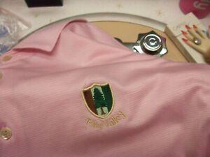 "men's sz L 46"" Pine Valley NJ polo pink golf shirt by Peter Millar Top Club USA"