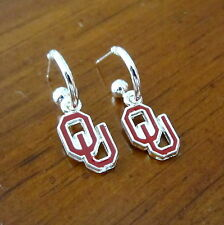 new UNIVERSITY OF OKLAHOMA SOONERS RED OU LOGO SILVER MINI HOOP EARRINGS jewelry