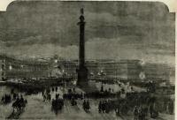 St. Petersburg Russia city view Etat Major night 1856 ILN wood engraved print