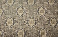 Heirloom Tribal Geometric Floral Gold Taupe Grey Upholstery Fabric By The Yard