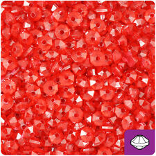 1200 Ruby Red Transparent 6mm Faceted Rondelle Octa Spacer Plastic Craft Beads