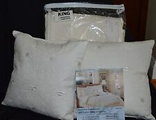 Luxurious Cream King Embroidered 100% Cotton Sateen Quilt  and Pillows