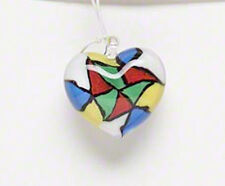 Autism Awareness Lampwork Glass Heart Pendant Aspergers Jewelry Lot of 2