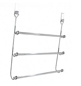 3 TIER TOWEL RAIL CHROME PLATED OVER DOOR BATHROOM HANGING RACK HOLDER STORAGE