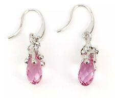 NEW! Beautiful PinkTeardrop Dangle Earrings Genuine Swarovski Crystal Elements
