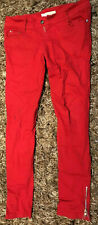 Living Dead Souls Size Large Red Skinny punk Jeans Emo Goth,zip detail on hems