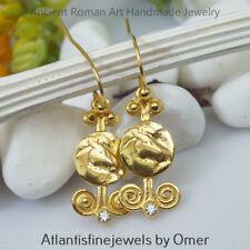 925k Silver Handmade Horse Coin Earrings W/ White Topaz 24k Gold Vermeil By Omer