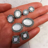 4 Pairs/lot Women Bohemian White Cobblestone Flower Crystal Stud Earrings Set