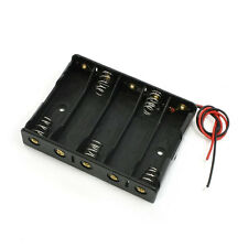 5 x 1.5V AA Battery Slot Holder Case Box Wire Black FEVD